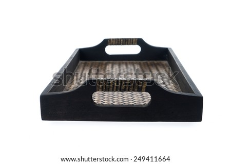Container, tray, square shape made of wood often using in thailand, asian spa massage salon, isolated on white background - stock photo
