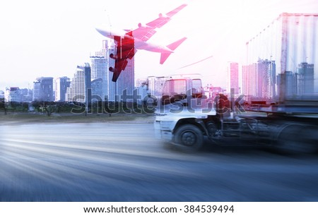 container truck , freight cargo plane in transport and import-export commercial logistic ,shipping business industry  - stock photo