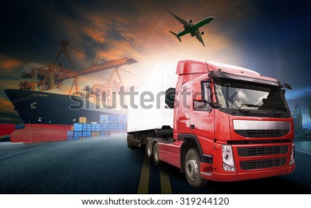 container truck in ship port for logistic and transport business - stock photo