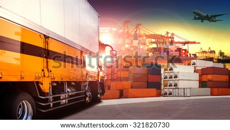 container truck in shipping port ,container dock and freight cargo plane flying above use for transportation and logistic industry - stock photo