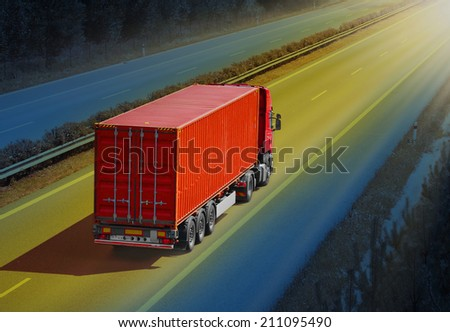 Container truck on the highway. - stock photo