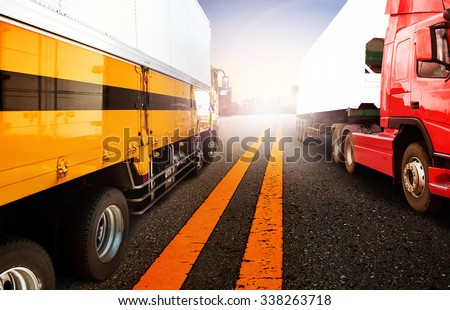 container truck transport for logistic business - stock photo
