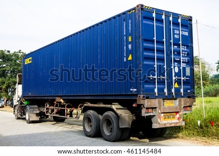 Container truck was parking for logistics to abroad. January, 12-2016  Chiang Mai, Thailand.