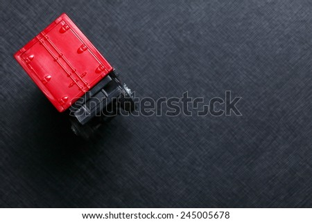 Container unit on truck carriage plastic model represent the cargo transportation related.   - stock photo