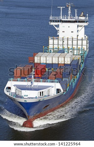 Container vessel on Kiel Canal, Germany - stock photo
