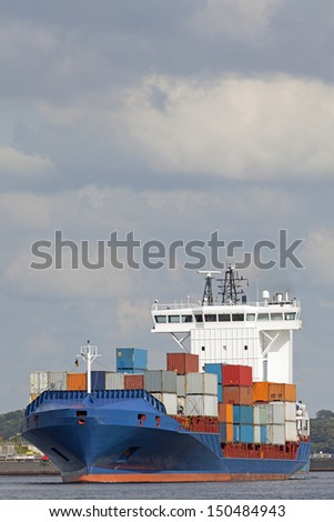 Container vessel on Kiel Canal, Germany