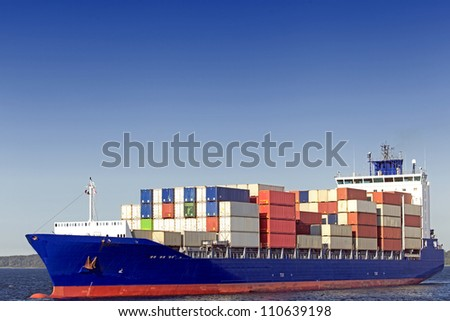 Container vessel on the Baltic Sea near Kiel, Germany