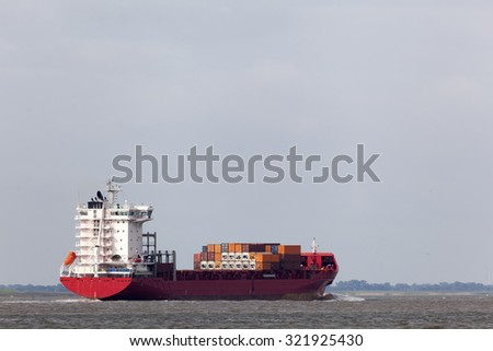 Container vessel on the North Sea near Cuxhaven in Germany