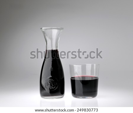 container with glass of red wine