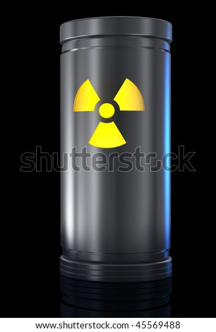 Container with radioactive material and Radiation sign. - stock photo