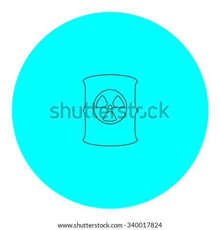 Container with radioactive waste. Black outline flat symbol on blue circle. Simple illustration pictograh on white background - stock photo