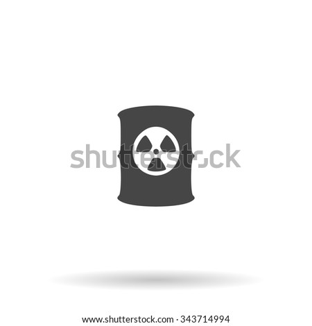 Container with radioactive waste. Flat icon on grey background with shadow - stock photo