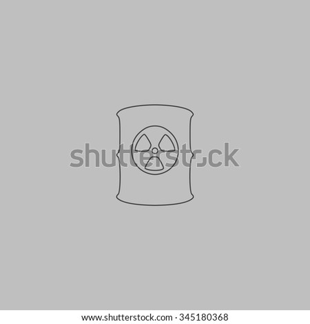 Container with radioactive waste. Flat outline icon on grey background - stock photo