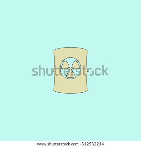 Container with radioactive waste. Flat simple line icon. Retro color modern illustration pictogram. Collection concept symbol for infographic project and logo - stock photo