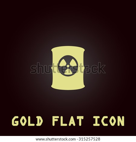 Container with radioactive waste. Gold flat icon. Symbol for web and mobile applications for use as logo, pictogram, infographic element - stock photo