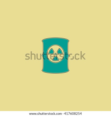 Container with radioactive waste. Grren simple flat symbol with black stroke over yellow background - stock photo
