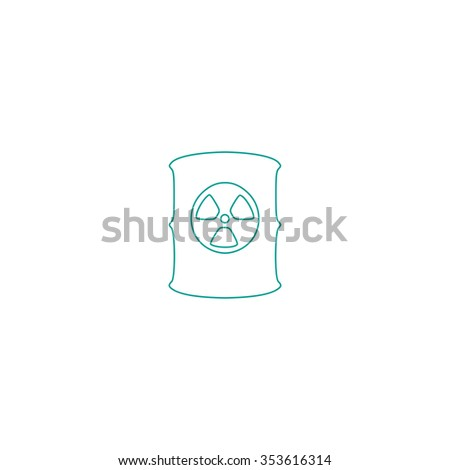 Container with radioactive waste. Outline symbol on white background. Simple line icon - stock photo