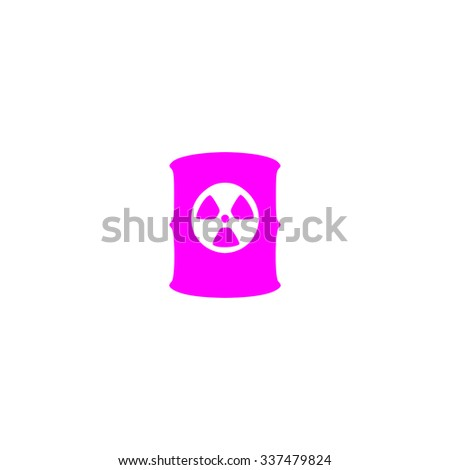 Container with radioactive waste. Pink icon on white background. Flat pictograph - stock photo