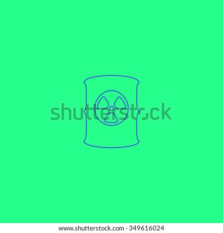 Container with radioactive waste. Simple outline illustration icon on green background - stock photo