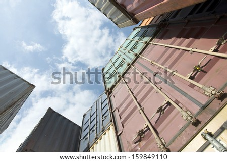 Containers angle looking up - stock photo