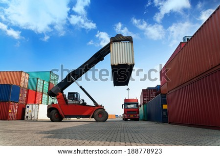 Containers at an industrial port