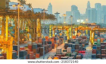 Containers at Bangkok commercial port  - stock photo