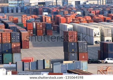 containers at the port for shipment - stock photo
