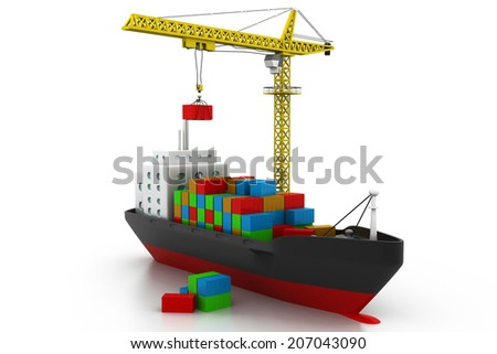 containers cargo ship - stock photo