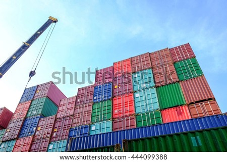 Containers for packaging products for use in transport by cargo ship and truck trailer - stock photo