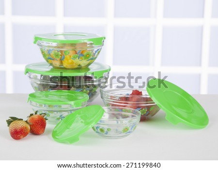 containers for the fridge green cover - stock photo