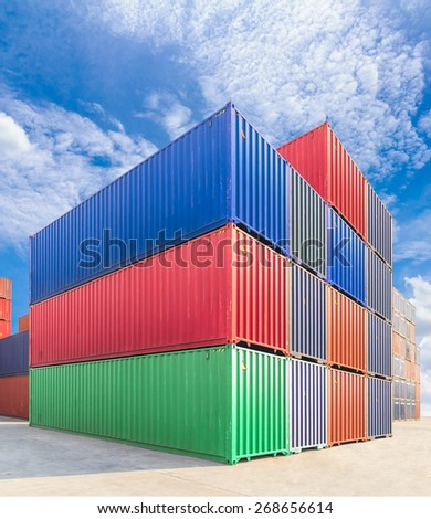 containers in industrial port authority - stock photo