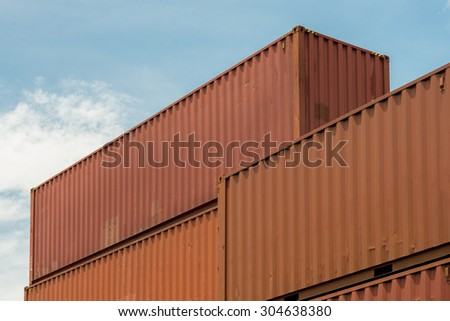 Containers in the port on the daytime - stock photo