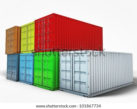 containers isolated on white background