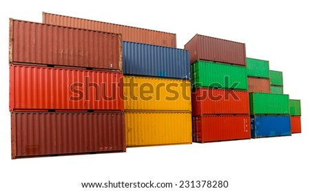 Containers on isolated  - stock photo