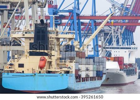Containerterminal in Hamburg, Germany - stock photo