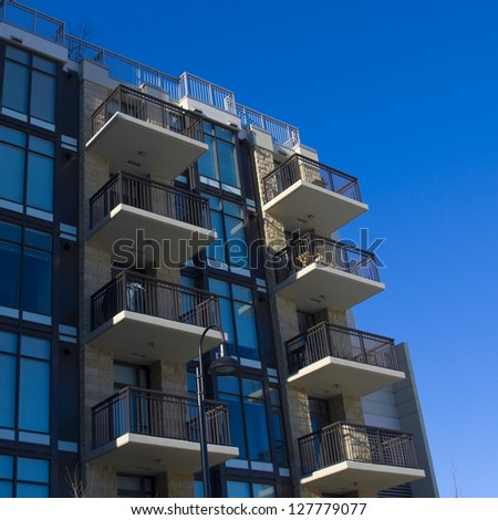 Contemparary apartment building in the city, Residential architecture