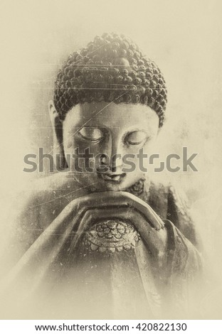 Contemplating Buddha textured as being in a dream. - stock photo