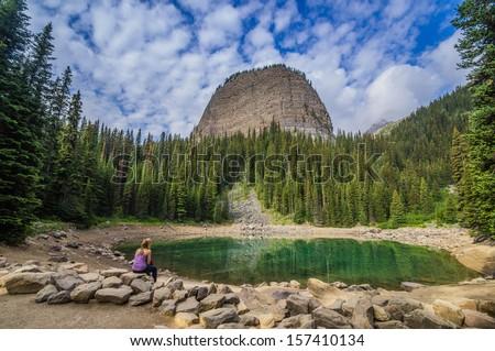 Contemplation at Mirror Lake, Banff National Park, Alberta, Canada - stock photo