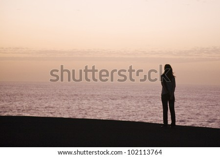 contemplation the lonely sunset - stock photo