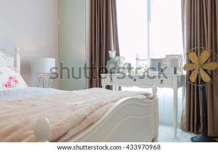 contemporary and classic bedroom in apartment or condo. - stock photo