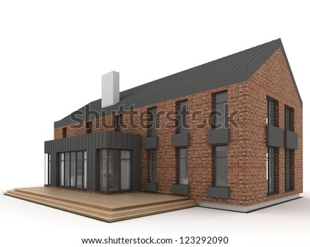 contemporary architecture, architect's project of residential house - stock photo