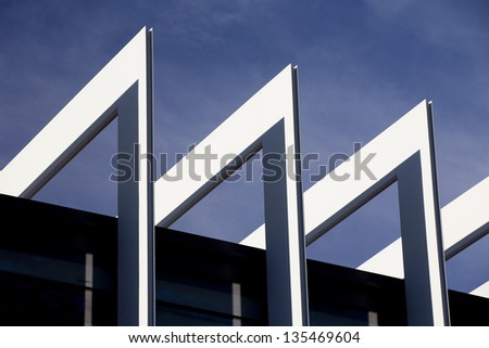 Contemporary Architecture.  Built Structure Detail at the Top of a Modern Building. - stock photo