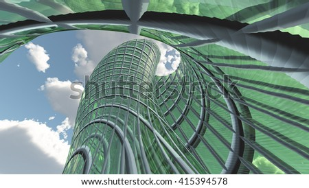 Contemporary Architecture 3D Render - stock photo