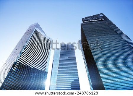 Contemporary Architecture Office Building Cityscape Personal Perspective Concept - stock photo