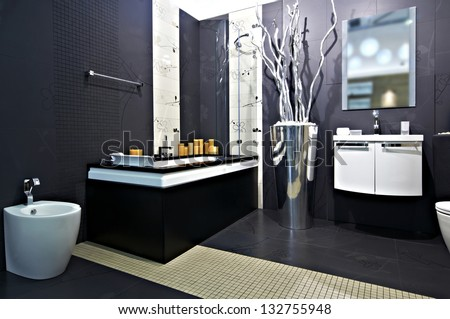 Contemporary bathroom interior - stock photo