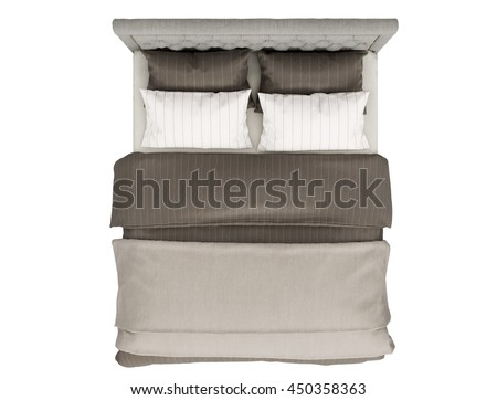 Contemporary Bed Isolated On White Background Top View