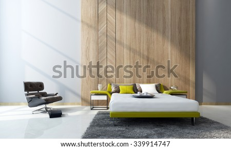 Contemporary Bedroom Interior With A Double Divan Bed And Cabinets In Front Of Feature Wood Paneling