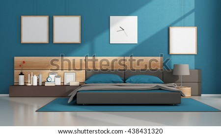 Contemporary bedroom with brown and blue double bed - 3d rendering - stock photo