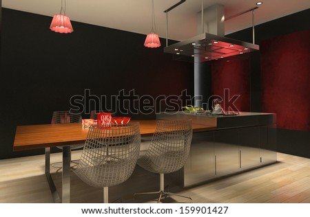 Contemporary black and red design kitchen