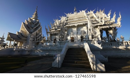 Contemporary Buddhist Sanctuary, Wat Rong Khun, Chiang Rai, Thailand. - stock photo